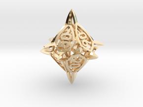 'Center Arc' dice, 10D10 Decader balanced die in 14k Gold Plated Brass