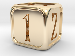 'Simple' balanced D6 die with numbers in 14k Gold Plated Brass