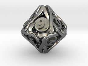 'Twined' Dice D10 Spindown Die (18 mm) in Polished Silver