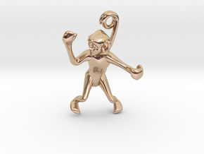 3D-Monkeys 219 in 14k Rose Gold Plated Brass