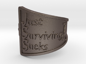 Just Surviving Sucks Satire Ring Size 7 in Polished Bronzed Silver Steel