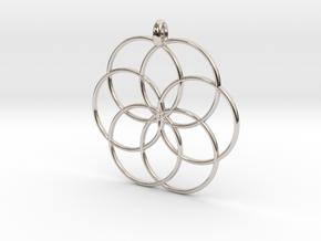Flower of Life - Hollow Pendant V2 in Platinum