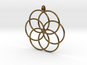 Flower of Life - Hollow Pendant V2 in Polished Bronze