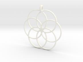 Flower of Life - Hollow Pendant V2 in White Processed Versatile Plastic