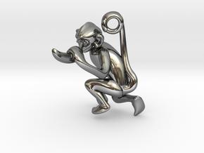 3D-Monkeys 225 in Fine Detail Polished Silver