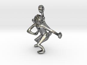 3D-Monkeys 229 in Fine Detail Polished Silver