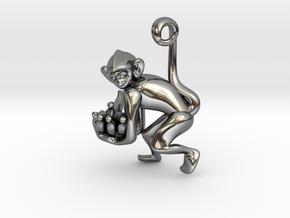 3D-Monkeys 235 in Fine Detail Polished Silver