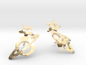 Earrings 'retro-Space' - Rocket/Planet in 14k Gold Plated Brass