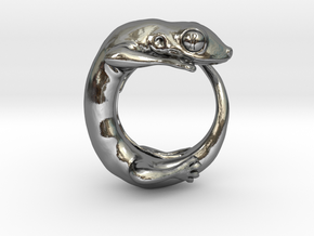(Size 7) Gecko Ring in Polished Silver