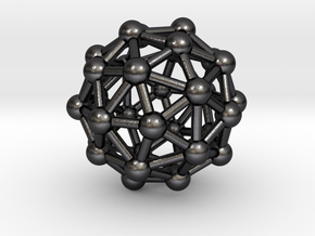 0327 Pentakis Dodecahedron V&E (a=1cm) #003 in Polished Grey Steel