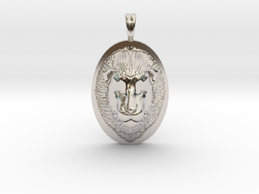 Lion Head Necklace Jewelry - Leo Sign - Symbol in Rhodium Plated Brass