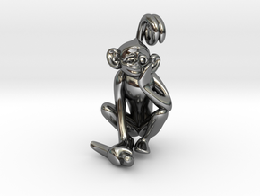 3D-Monkeys 336 in Fine Detail Polished Silver