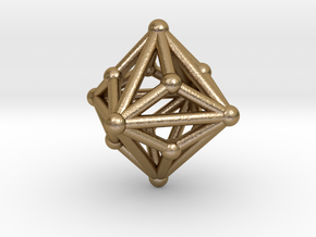 0329 Small Triakis Octahedron V&E (a=1cm) #002 in Polished Gold Steel