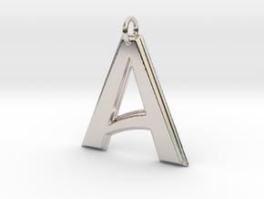 """A"" Letter Initial Pendant in Platinum"