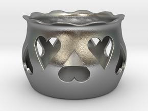 Tea Light Holder Heart in Natural Silver