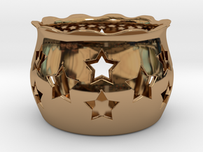 Tea Light Holder Star in Polished Brass