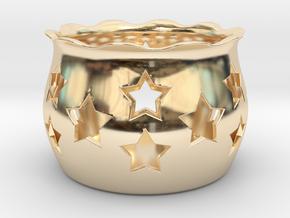 Tea Light Holder Star in 14k Gold Plated Brass