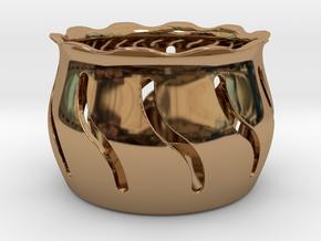Tea Light Holder Wave in Polished Brass