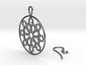 Mandelbrot Web Earring in Fine Detail Polished Silver
