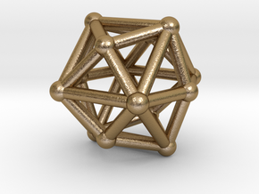 0332 Tetrakis Hexahedron V&E (a=1cm) #002 in Polished Gold Steel