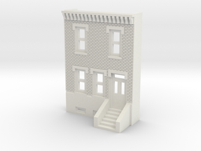 N SCALE ROW HOUSE FRONT 2S REV  in White Natural Versatile Plastic