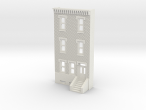 N SCALE ROW HOUSE FRONT 3S REV  in White Natural Versatile Plastic