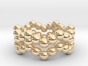 Ring Sphere 2 waved in 14k Gold Plated Brass