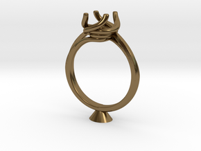 CD248 - Jewelry Engagement Ring 3D Printed Wax Res in Polished Bronze