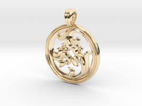 Rosette Pendant in 14k Gold Plated Brass