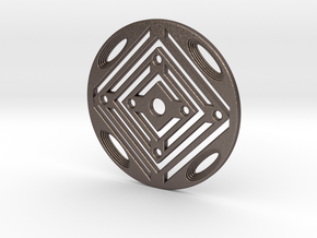 Geometric Coaster in Polished Bronzed Silver Steel