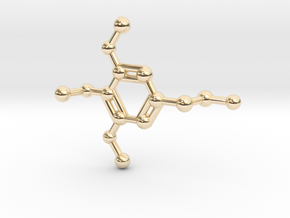 Mescaline Molecule Necklace Keychain in 14K Yellow Gold