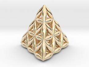 Flower Of Life Tetrahedron in 14k Gold Plated Brass