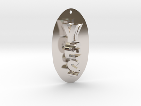 Indecisive Pendant. YES or NO!  in Rhodium Plated Brass