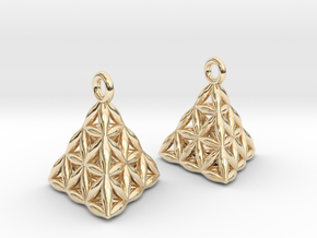 Flower Of Life Tetrahedron Earrings in 14K Yellow Gold