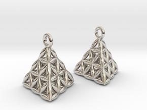 Flower Of Life Tetrahedron Earrings in Platinum