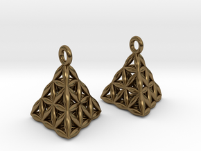 Flower Of Life Tetrahedron Earrings in Polished Bronze