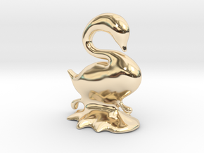Swan in 14k Gold Plated Brass