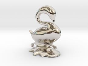 Swan in Rhodium Plated Brass