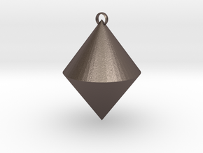 The pendant of cone in Polished Bronzed Silver Steel