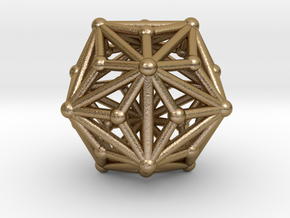 0335 Triakis Icosahedron V&E (a=1cm) #002 in Polished Gold Steel