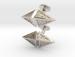 Zendikar Hedron Cufflinks in Rhodium Plated Brass