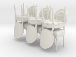 Louis XVI Side Chair Set of 6 in White Natural Versatile Plastic: 1:24