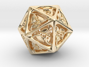 Tengwar Elvish D20 in 14K Gold: Small