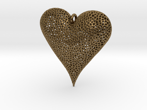 Valentines Day Voronoi Heart Pendant in Natural Bronze