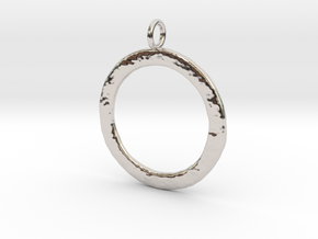 Ring-shaped pendant — rough in Rhodium Plated Brass