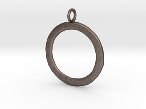 Ring-shaped pendant — rough in Polished Bronzed Silver Steel