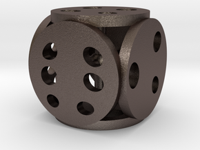 Petri Dice in Polished Bronzed Silver Steel