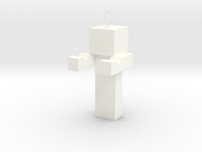 Minecraft Inspired Phone Standkey Chain in White Processed Versatile Plastic