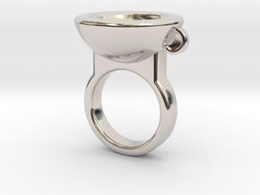 Coffe Cup Ring in Platinum