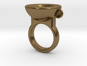 Coffe Cup Ring in Polished Bronze